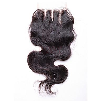 Runsaat laineet Full Lace 4x4 päättäminen 100% käsinsidottu Sveitsiläinen peruukkiverkko Aidot hiukset Vapaa Osa Keskimmäinen osa 3 Osa