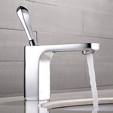 Moderne Vannrett Montering Enkelt Håndtak Et Hull in Krom Bathroom sink tappekran