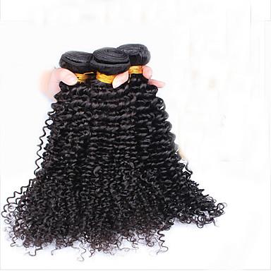 Intialainen Hiukset kutoo Kinky Curly Kaareva Weave Hiuspidennykset 3 osainen Musta