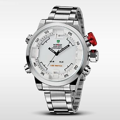 WEIDE Erkek Bilek Saati / Dijital saat Alarm / Takvim / Kronograf Paslanmaz Çelik Bant İhtişam Siyah / Gümüş / Su Resisdansı / Çift Zaman Bölmeli