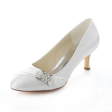 Damen Schuhe Stretch - Satin Frühling Sommer Herbst Stöckelabsatz Kristall für Hochzeit Party & Festivität Kleid Elfenbein