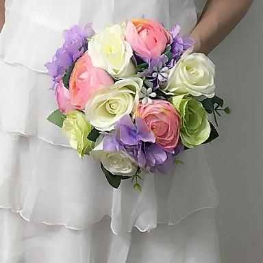 Bryllupsblomster Rund Roser Buketter Sateng 9.84 tommer (ca. 25cm)