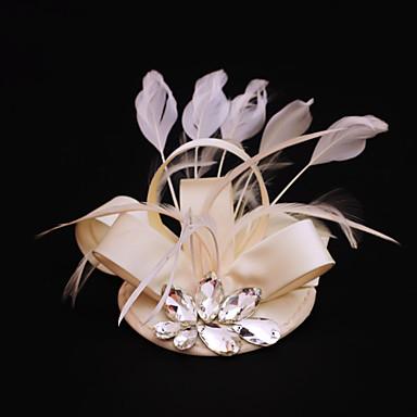 rhinestone feather satin fascinators headpiece klassisk feminin stil