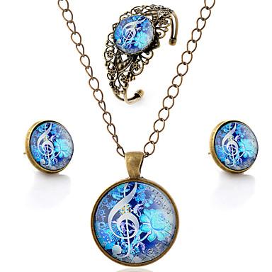 Mulheres Conjunto de jóias - Flor, Nota Musical Estilo simples, Esculpido Incluir Marron Para Festa / Diário / Casual / Brincos / Colares / Bracelete