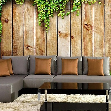 ציור קיר גדול עץ טפט אפקט עור shinny 3D עכשווי משאיר עיצוב קיר אמנות