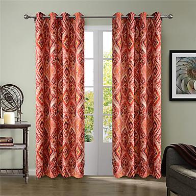 Vorhänge drapiert Wohnzimmer Plaid / Karomuster / Geometrisch Polyester Druck