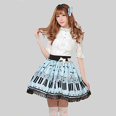Skirt Sweet Lolita Princess Cosplay Lolita Dress Blue Print Lolita Skirt For Women Polyester Pretty Lolita Key and Cat Princess Kawaii Skirt Lovely