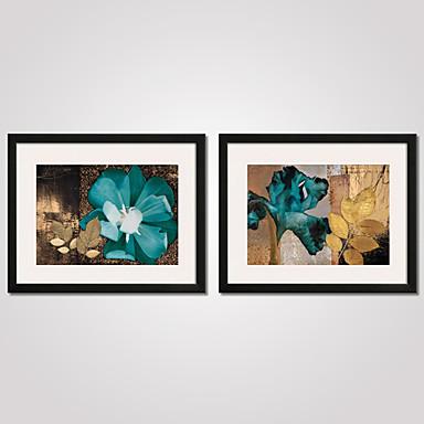 Gerahmte Printkunst Gerahmtes Leinenbild Gerahmtes Set Abstrakt Stillleben Blumenmuster/Botanisch Feiertage Freizeit Wandkunst, PVC Stoff