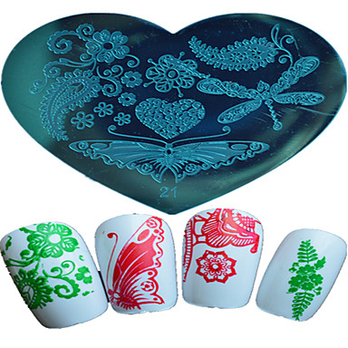 1pcs Nagelkunst herzförmigen Prägevorlage Schmetterling schöne Rose Mädchen Halloween-Bild Design Nagelkunstwerkzeuge 21-25