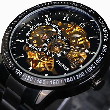 baratos Relógios Homem-WINNER Homens Relógio Esqueleto Relógio de Pulso relógio mecânico Automático - da corda automáticamente Aço Inoxidável Preta / Prata 30 m Impermeável Gravação Oca Luminoso Analógico Luxo Vintage -