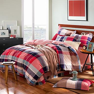 Streifen Baumwolle 4 Stück Bettbezug-Sets