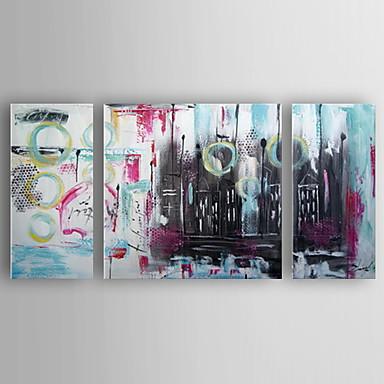 Kézzel festett Absztrakt Vízszintes, Modern Vászon Hang festett olajfestmény lakberendezési Három elem