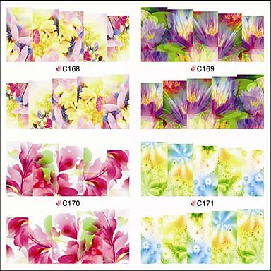 1 Neglekunst klistremerke Vann Overføre Dekor Negle Smykker Tegneserie Blomst Smuk Sminke Kosmetikk Neglekunst Design