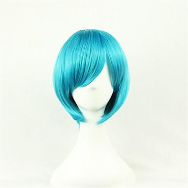 Syntetiske parykker / Kostymeparykker Rett Asymmetrisk frisyre Syntetisk hår Naturlig hårlinje Blå Parykk Dame Mellemlængde Lokkløs Blå