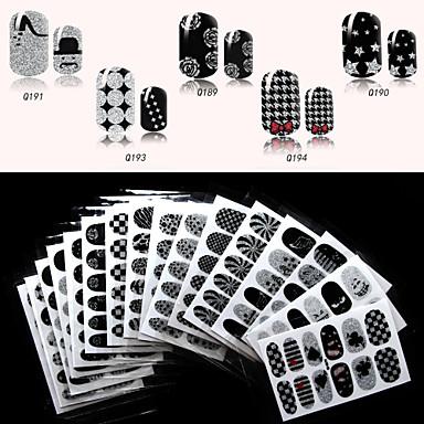 מדבקות המסמר מלא QJ-q179-194 6pcs 16 עיצובים שחורים שונים, 12 מדבקות / יח '(חפיסת 6 גיליונות אקראיים)