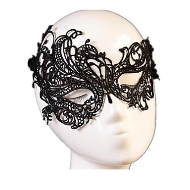 billige Originale moroleker-Karneval Maske Halvmaske Voksne Dame Snøring Jul Halloween Karneval Festival / høytid Svart Karneval Kostumer Ensfarget Blonder