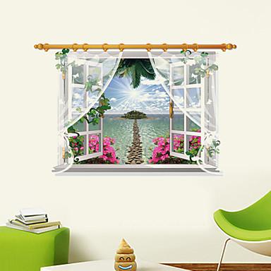 בוטניקה / אנימציה / רומנטיקה / אופנה / פרחים / חג / נוף / צורות / תחבורה / פנטזיה / 3D מדבקות קיר מדבקות קיר תלת מימד,PVC90cm x 60cm (