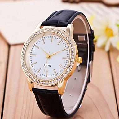 Damen Modeuhr Simulierter Diamant Uhr Quartz Armbanduhren für den Alltag Leder Band Mehrfarbig