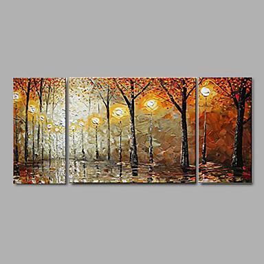 Hand bemalt dick Herbstlandschaft Ölgemälde nach Hause Bürodekor mit gestreckten Rahmen - von 3