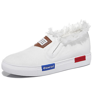 Sneakers-Twill-Komfort-Dame-Sort Hvid-Udendørs Kontor Fritid-Flad hæl