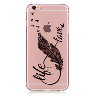 Etui Til Apple iPhone 6 iPhone 6 Plus Gjennomsiktig Mønster Bakdeksel Fjær Myk TPU til iPhone 6s Plus iPhone 6s iPhone 6 Plus iPhone 6