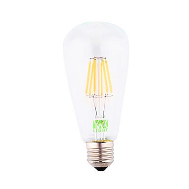 YWXLIGHT® 1pç 500-600 lm E26 / E27 Lâmpadas de Filamento de LED ST64 6 Contas LED COB Decorativa Branco Quente 220-240 V / 110-130 V / 85-265 V / 1 pç / RoHs