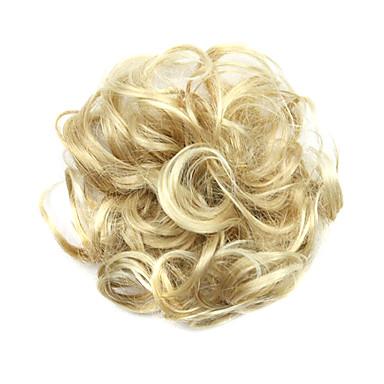 Syntetiske parykker / Chignon-nakkeknuder Krøllet / Klassisk Frisure i lag Syntetisk hår updo Paryk Dame Kort Afbleget Blond