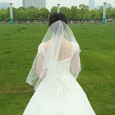 Hochzeitsschleier Zweischichtig Fingerspitzenlange Schleier Gebündelter Rand Tüll Weiß