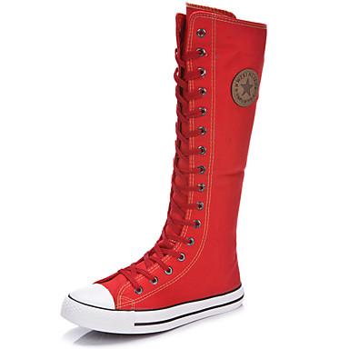 povoljno Ženske čizme-Žene Čizme Ravna potpetica Okrugli Toe / Zatvorena Toe Patent-zatvarač / Vezanje Platno Čizme do koljena Modne čizme Proljeće / Ljeto Obala / Crn / Crvena