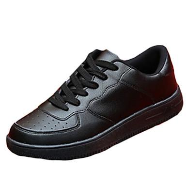 Heren Schoenen PU Weefsel Lente Herfst Comfortabel Platte schoenen Veters voor Causaal Wit Zwart Rood