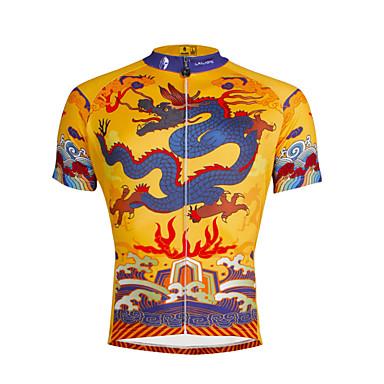 ILPALADINO Homme Manches Courtes Maillot de Cyclisme - Jaune / noir. Vélo Maillot, Séchage rapide, Résistant aux ultraviolets, Respirable