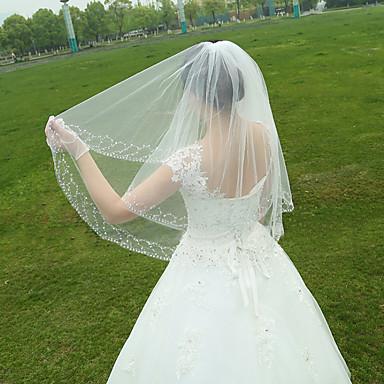 Menyasszonyi fátyol Egykapcsos Ujjakig érő fátyol Gyöngydíszítésű szegély Tüll Fehér