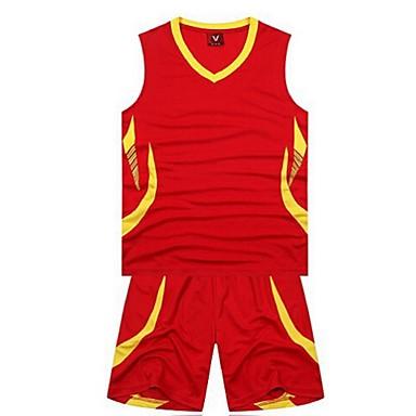 ספורטיבי לגברים בלי שרוולים ספורט פנאי / בדמינטון / כדורסל / ריצה מדים בסטים רחבים מכנסיים קצרים נושם / ייבוש מהיר XL / XXL / XXXL / XXXXL