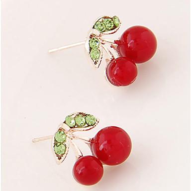 Brincos Curtos Moda Personalizado Cereja Fruta Branco Vermelho Verde Jóias Para Festa Diário Casual 1 par