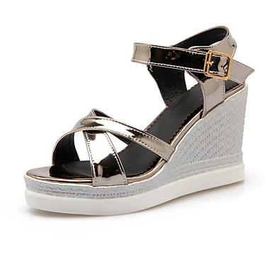 Damen Schuhe PU Sommer Komfort Keilabsatz Schnalle für Normal Büro & Karriere Silber Rosa Champagner