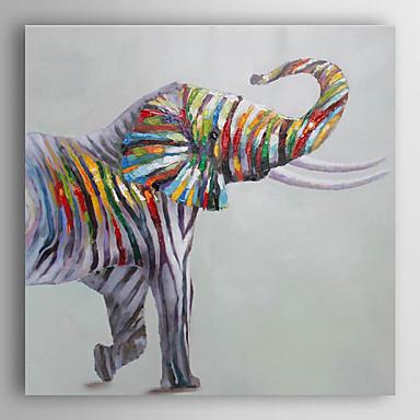 handgemaltes Ölgemälde Tier bunten Elefanten mit gestreckten Rahmen