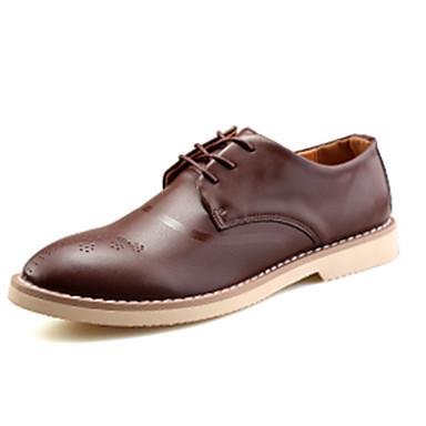 Masculino sapatos Couro Ecológico Primavera Outono Conforto Oxfords Para Casamento Festas & Noite Preto Marron Khaki
