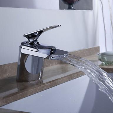עכשווי סט מרכזי מפל מים with  שסתום קרמי חור אחד חור ידית אחת אחת for  כרום , חדר רחצה כיור ברז