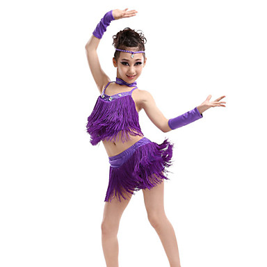 Buy Shall Latin Dance Outfits Children Performance Spandex / Polyester Cute Tassel(s) Costumes