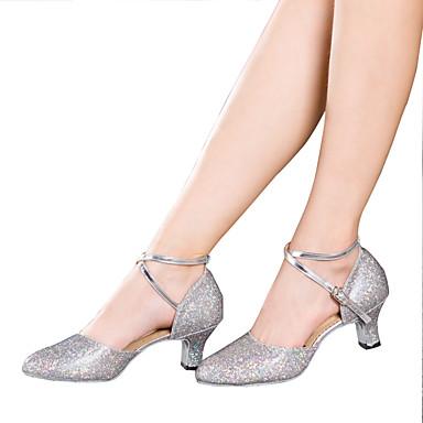 baratos Shall We® Sapatos de Dança-Mulheres Glitter / Paetês / Sintético Sapatos de Dança Latina Lantejoulas / Apliques / Gliter com Brilho Sandália / Salto / Têni Salto Cubano Não Personalizável Prateado / Dourado / Púrpura / EU42