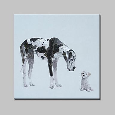 יד גדולה ציור כלבי תמונות חיות מודרניות מופשטים שמן בד צבוע עם מסגרת מתוח מוכנה לתלות