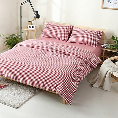 Kariert Baumwolle 4 Stück Bettbezug-Sets