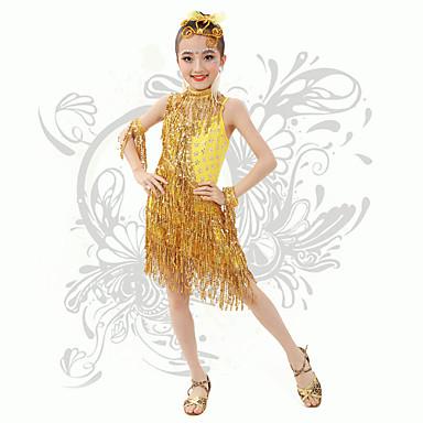 Gyermek-Latin tánc-Ruhák(Sárga,Spandex,Flitterek / Bojt(ok))