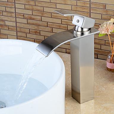 Moderna Conjunto Central Cascata Válvula Cerâmica Monocomando e Uma Abertura Níquel Escovado, Torneira pia do banheiro