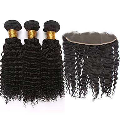 Cabello Mongol Rizado / Kinky Curly / Tejido rizado Cabello Virgen Trama del pelo con cierre Cabello humano teje Extensiones de cabello humano