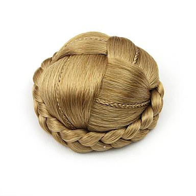 ouro encaracolado Kinky europa cabelo humano pequena capless chignons perucas 1011