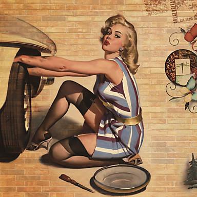 Wandgemälde Art Deco Tapete Retro Wandverkleidung,Leinwand ja
