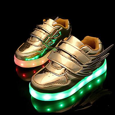 Para Meninos / Para Meninas Sapatos Couro Envernizado Primavera / Verão / Outono Conforto / Tênis com LED Tênis Velcro / LED para Prata / Rosa claro / Dourado / Casamento