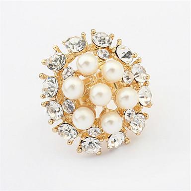 Anéis Mulheres Imitação de Pérola / Strass Liga Liga 4.0 / 6 Dourado