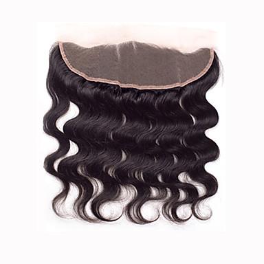 8 10 12 14 16 18 20inch Luonnollisen musta (#2) Lace Front / Käsinkudottu Straight Aitohius Päättäminen Medium Brown Sveitsiläinen pitsi